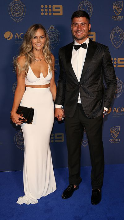 Marcus Stoinis and his partner Stephanie Muller.