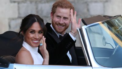 Newlyweds Prince Harry and Meghan Markle  depart Windsor Castle to wedding reception