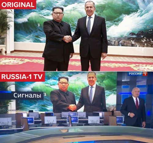 It appears Russian TV photoshopped the image of Kim Jong Un (Reuters)