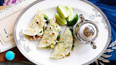 "Recipe:&nbsp;<a href=""http://kitchen.nine.com.au/2016/05/16/17/49/crab-and-avocado-tortillas"" target=""_top"">Crab and avocado tortillas</a>"