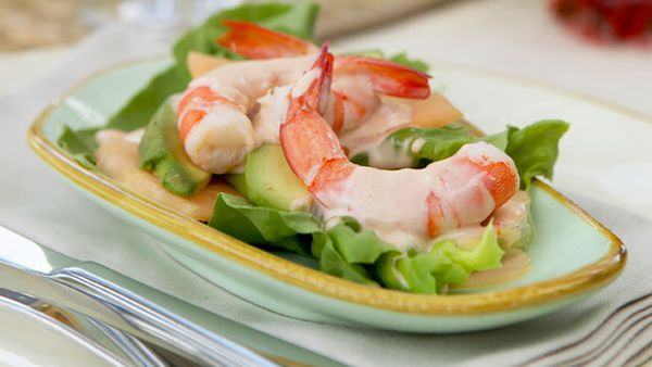 Prawn cocktails with melon and avocado