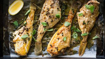 """Recipe: <a href=""""http://kitchen.nine.com.au/2017/10/10/12/26/mike-mcenearneys-baked-whole-leather-jacket-with-marjoram-capers-and-lemon"""" target=""""_top"""">Mike McEnearney's baked whole leather jacket with marjoram, capers and lemon</a>"""