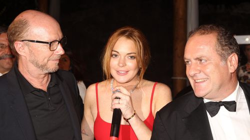 Paul Haggis, Lindsay Lohan and Pascal Vicedomini during the Ischia Global Film and Music Festival 2014 in Italy. (AAP)