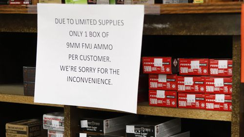 While supermarkets in Australia are limiting purchases of toilet paper, pasta and rice, gun shops in America are restricting panic-buying of ammunition.