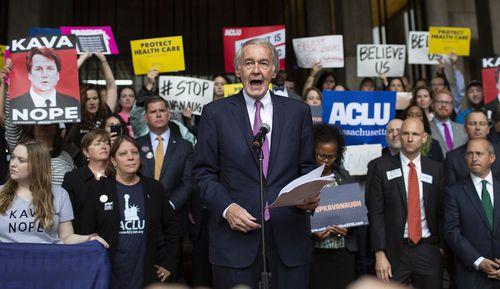 Senator Edward Market addresses a crowd during a protest rally against the confirmation vote of Judge Brett Kavanaugh in Boston.