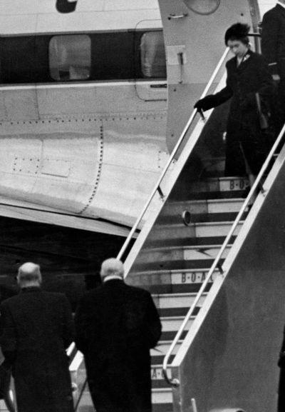 Queen Elizabeth II returns from Kenya, February 1952