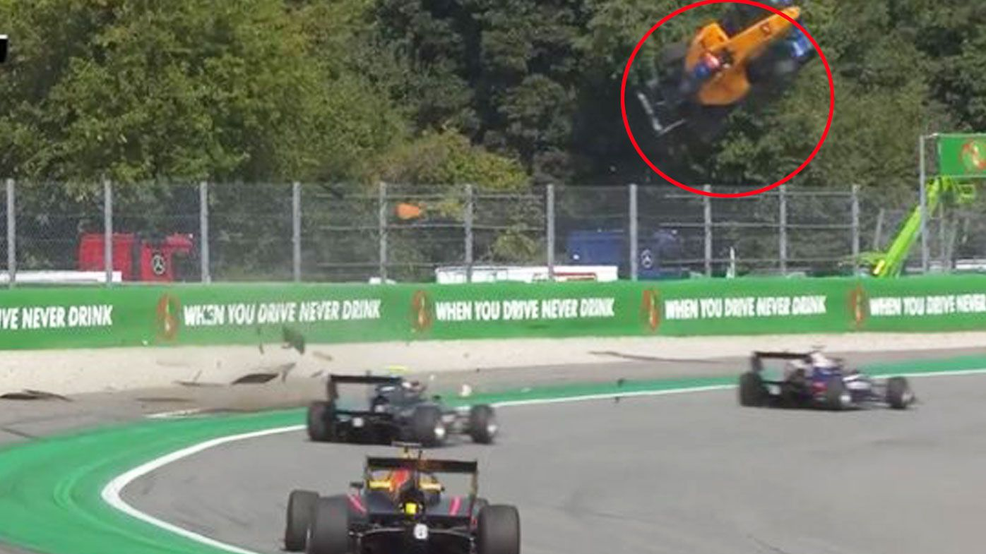 Peroni's car goes flying in an F3 crash