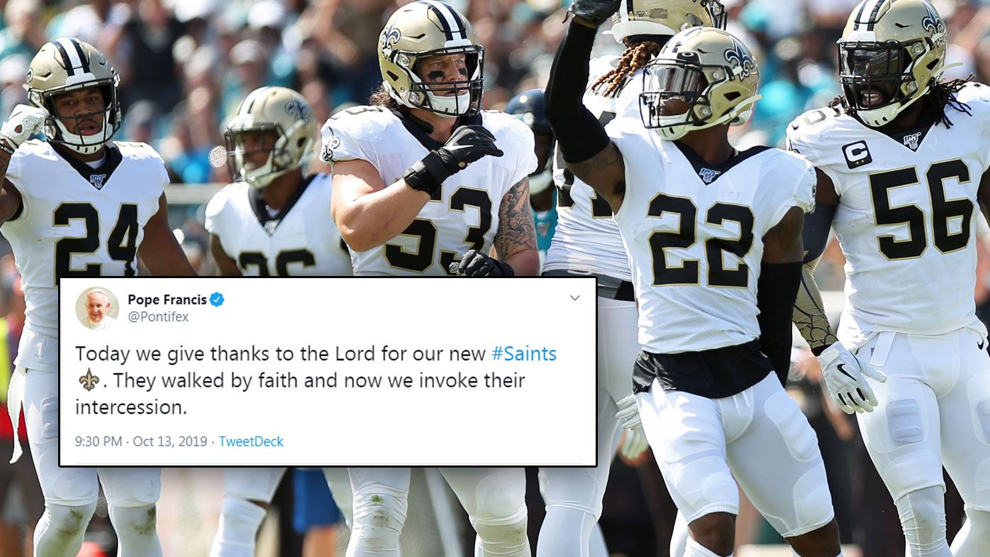 The Pope accidentally tweets the NFL team New Orleans Saints