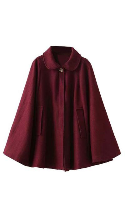 "<a href=""http://www.choies.com/product/wine-red-lapel-poncho-cape-woolen-coat_p38833""> Wine Red Lapel Poncho Cape, $94.44, Choies</a>"