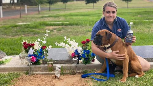 Madeline Botts visits her fiancé Ethan Hunter's grave with their dog Knox on what would have been their wedding day last weekend.