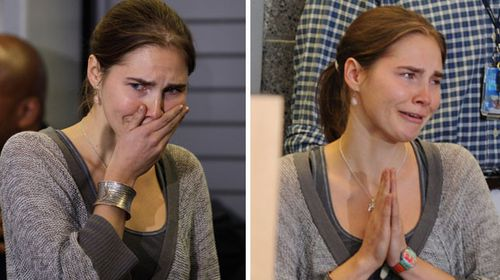 Knox cries after learning her conviction has been overturned in 2011. (AP)