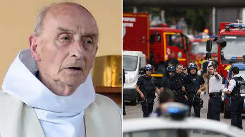 Priest Jacques Hamel (left) was killed in the attack. (AAP)
