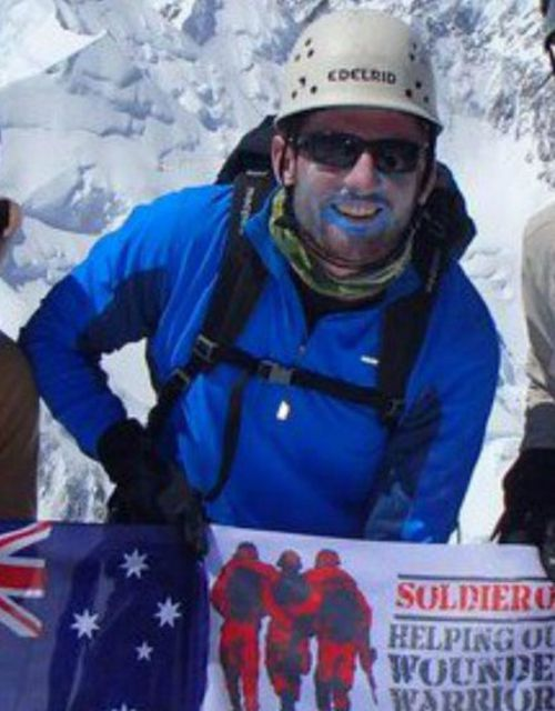 Rescued climber Lieutenant Terry Harch of the ADF. Picture: Soldier On (Supplied)