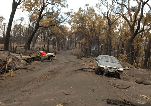 The devastating consequences of Black Saturday arsonist Brendan Sokaluk are shown in this 2009 photo, depicting the burned out cars in which two people died. Sokaluk was found guilty of killing 10 people.