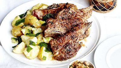 Barbecued lamb neck chops with hazelnut picada and crushed butter potatoes