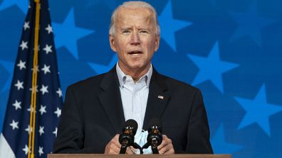 Democratic presidential candidate former Vice President Joe Biden speaks at the The Queen theater, Thursday, Nov. 5, 2020, in Wilmington, Del.