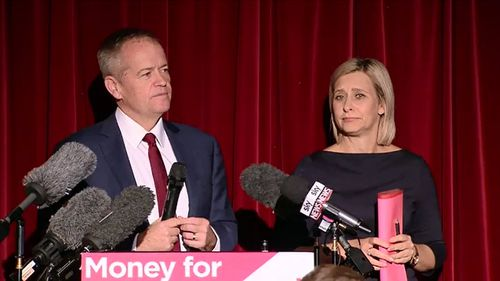 Labor Leader Bill Shorten addressed ALP faithful in Queensland tonight, saying the victory is a 'great win' for the party and for its female candidates. Picture: 9NEWS.