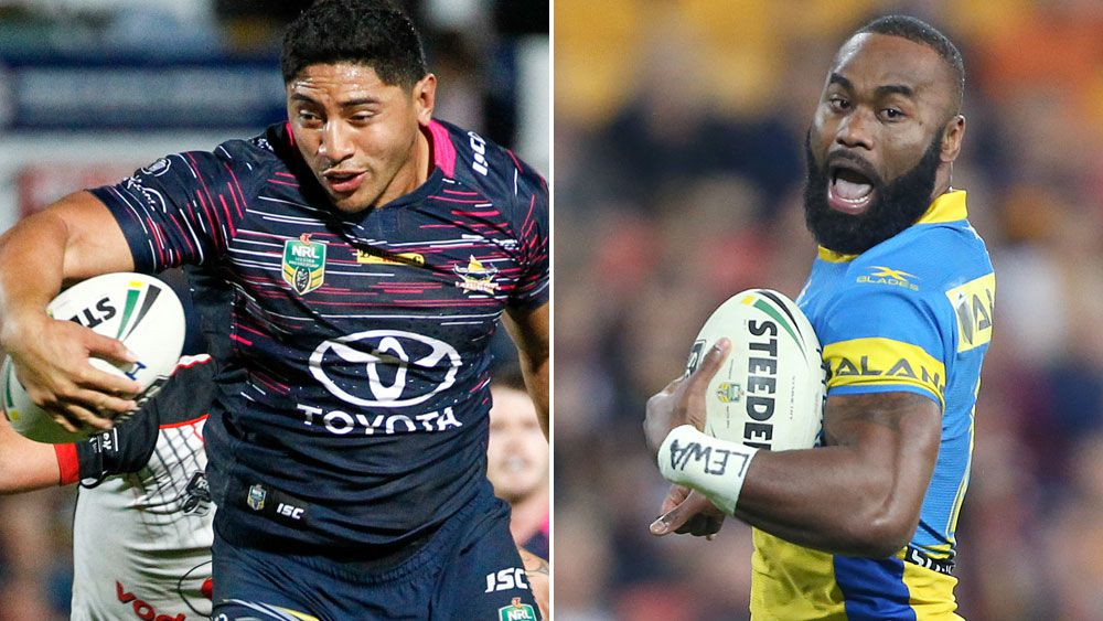 Cowboys lock Jason Taumalolo and Eels winger Semi Radradra. (AAP)