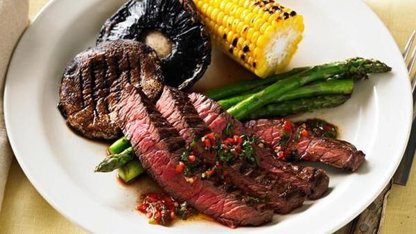 Barbecue steak with chimichurri sauce