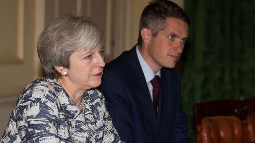Defence Secretary Gavin Williamson and Prime Minister Theresa May.