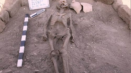 Skeletons were also found buried in the city.