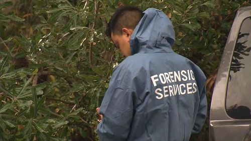 A forensic services officer this morning. Picture: 9News