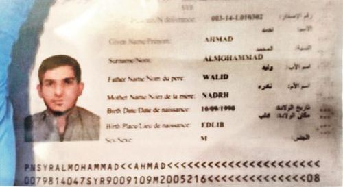 The passport found at the scene, according to Serbian media. (Blic)