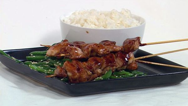 Yakitori chicken with sesame green beans