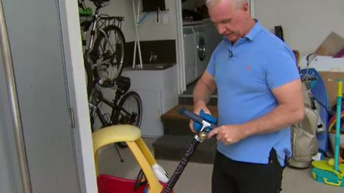 Mr Mann used a variety of tools, including a child's scooter, to stop the offender. (9NEWS)