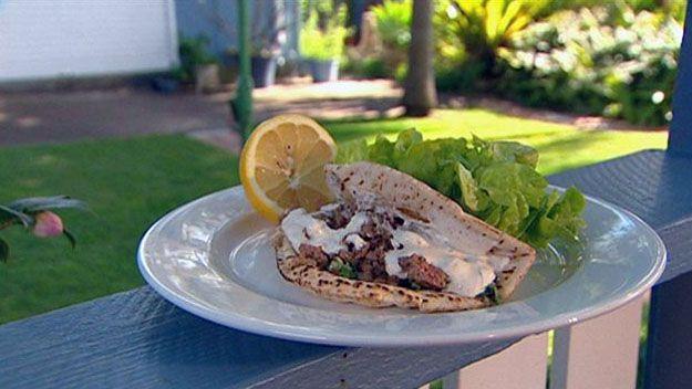Lamb kofte wrap with tabbouleh