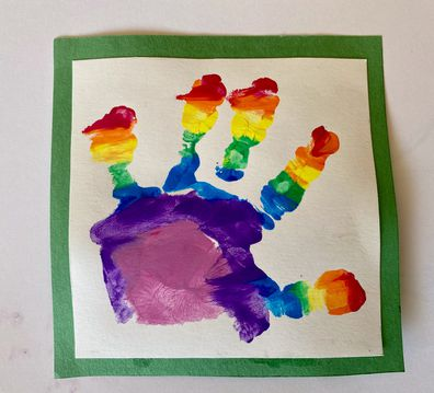 A photo of the young prince's hand prints were also released for the occasion.