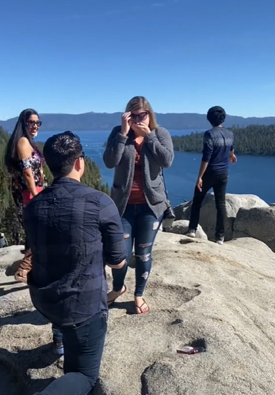 Marriage proposal TikTok hikers moment