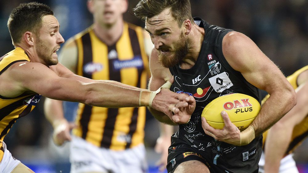 Charlie Dixon starred for Port Adelaide in their big win over Hawthorn, (AAP)