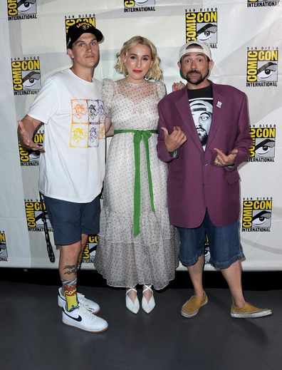 SAN DIEGO, CALIFORNIA - JULY 20: (L-R) Jason Mewes, Harley Quinn Smith and Kevin Smith attend the Kevin Smith Reboots Hall H! Panel during 2019 Comic-Con International at San Diego Convention Center on July 20, 2019 in San Diego, California. (Photo by Albert L. Ortega/Getty Images)