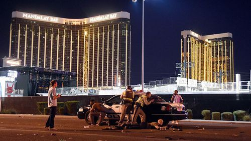 The gunfire came from 32nd-floor windows into a crowd of 22,000 people at the Route 91 Harvest Festival across Las Vegas Boulevard.