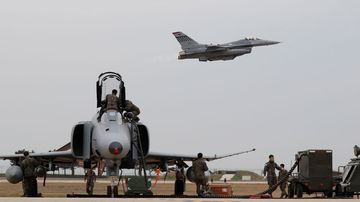 A F16 fighter (top) of the US Air Force takes off during the Seventh Air Force and the 8th Fighter Wing Max Thunder exercise at the eighth Fighter Wing in Gunsan, South Korea, 20 April 2017. Picture: EPA/AAP