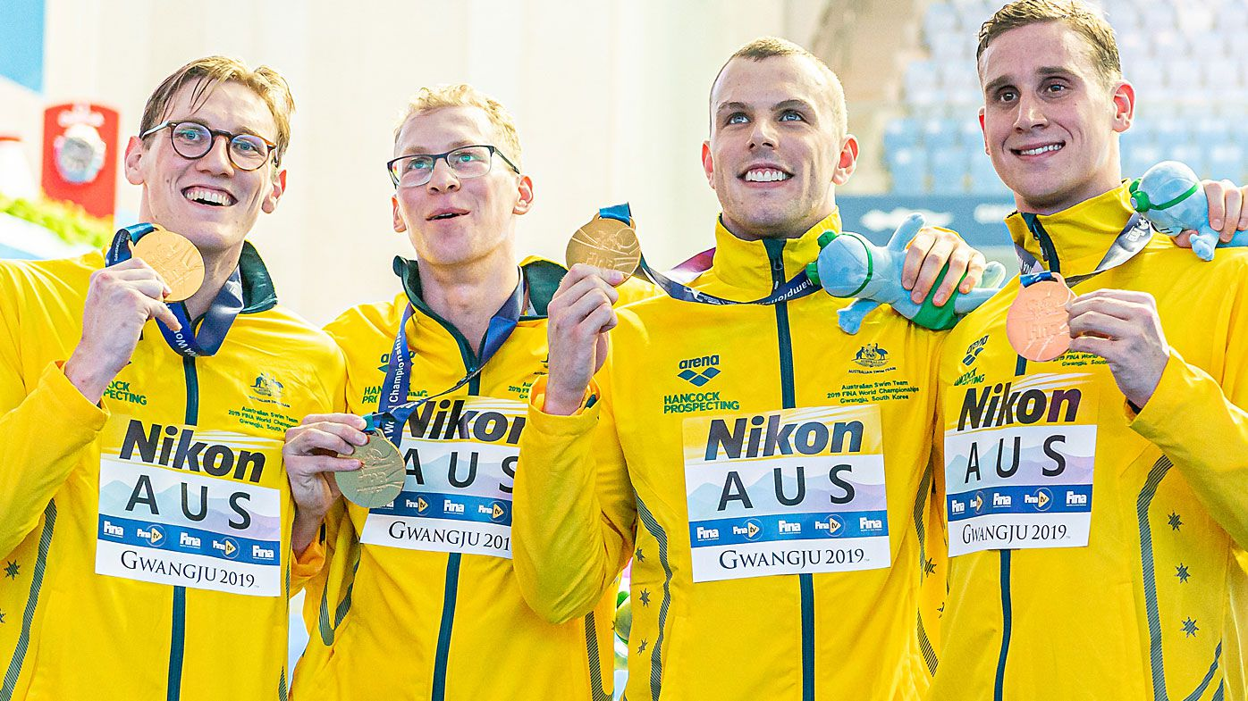 'We swam like absolute animals': Aussie men win 4x200m swimming relay gold