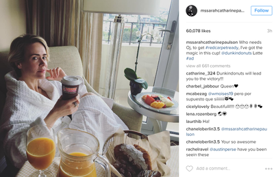 <p>'Who needs OJ to get ready,' asked Sarah Paulson.</p> <p>'I've got the magic in this cup.'</p> <p>Calm down folks. It's just coffee.&nbsp;</p> <p>Image: <em>Instagram</em>/@mssarahcatherinepaulson</p>