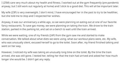Wife ditches husband on anniversary date for 'fat-shaming' comments