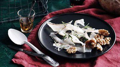"Recipe:&nbsp;<a href=""http://kitchen.nine.com.au/2016/05/17/11/06/lardo-truffle-honey-and-walnuts"" target=""_top"">Lardo, truffle honey and walnuts</a>"