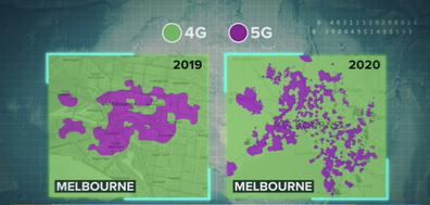 There are still gaps in Melbourne's 5G coverage, as opposed to 4G which is shown in green.