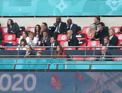 The Duke and Duchess of Cambidge with son Prince George (front row) along with Former England Goalkeeper David Seaman (far left) and wife Frankie Poultney, Ed Sheeran, David Beckham, Romemo Beckham, Ellie Goulding and husband Caspar Jopling during the UEFA Euro 2020 round of 16 match at Wembley Stadium, London. Tuesday June 29, 2021.