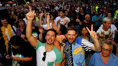 Supporters of same-sex marriage are seen celebrating the victory. (AAP)