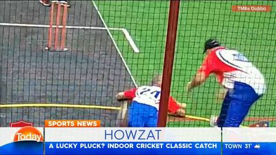 Classic catch at indoor cricket match in Dubbo