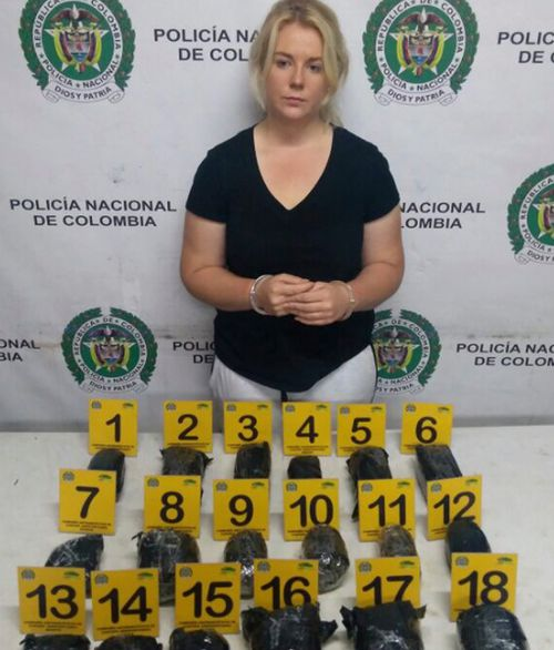 Cassie Sainsbury was arrested after she was allegedly found with 5.8kg in her luggage in Colombia. (Colombia National Police, 9NEWS)