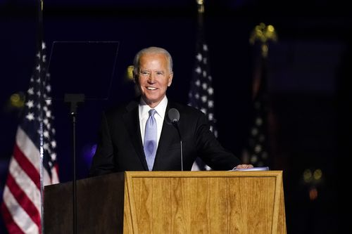 President-elect Joe Biden speaks Saturday, Nov. 7, 2020, in Wilmington, Del. (AP Photo/Andrew Harnik)