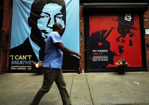 A memorial of Michael Brown next to the one of Eric Garner outside of filmmaker's Spike Lee's 40 Acres offices in the Brooklyn borough of New York City. Both men were killed by police officers in situations that remain murky and which have set off protests and demonstrations around the country.