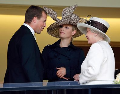 Peter pictured with sister Zara and his grandmother Queen Elizabeth.