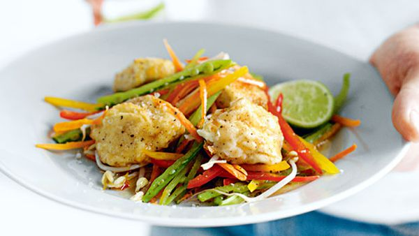 Salt and pepper tofu with chilli lime dressing