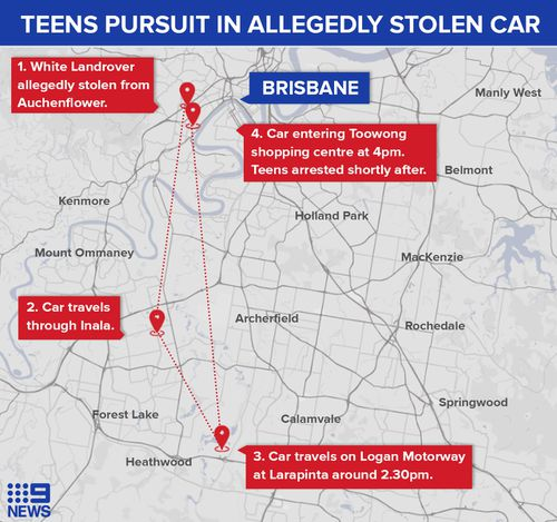 Teens charged after pursuit in allegedly stolen Landrover in Brisbane's south.